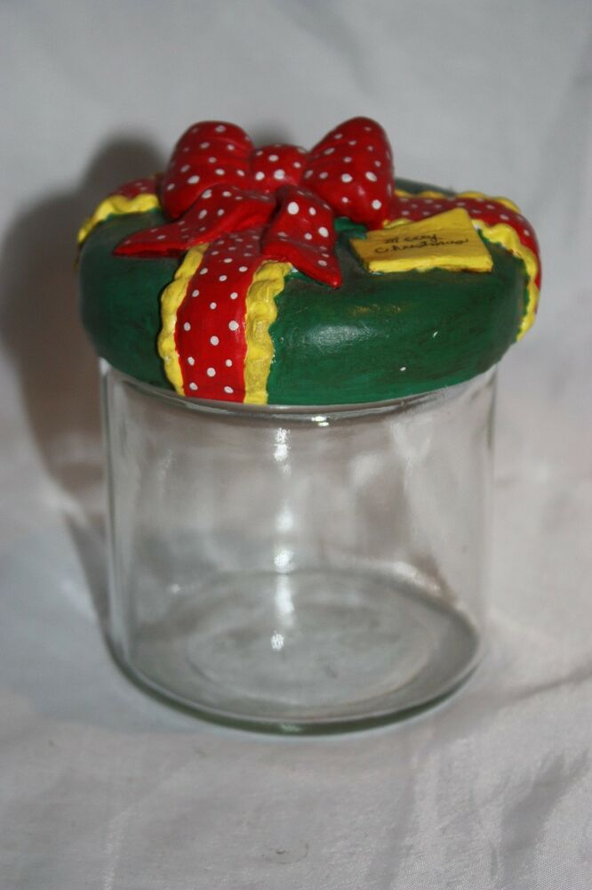 merry christmas clear glass candy gift jar canister twist lid retro ebay. Black Bedroom Furniture Sets. Home Design Ideas