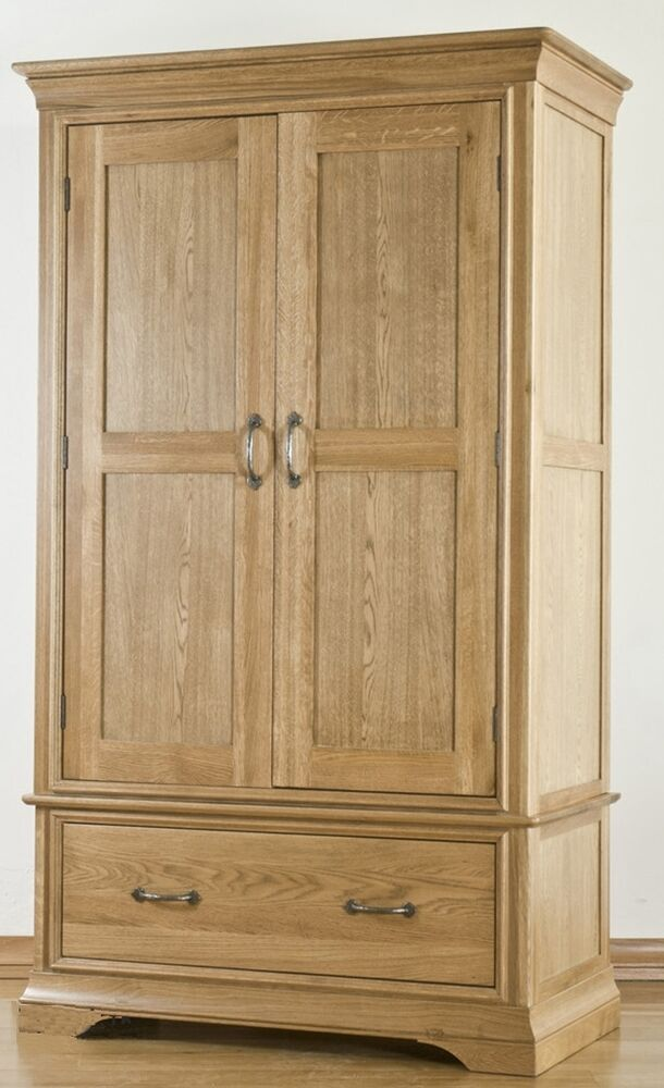 toulon solid oak furniture double bedroom wardrobe with drawer ebay