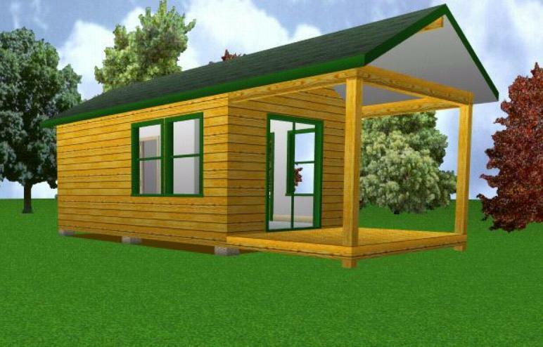 12x20 Starter Cabin W Covered Porch Plans Package