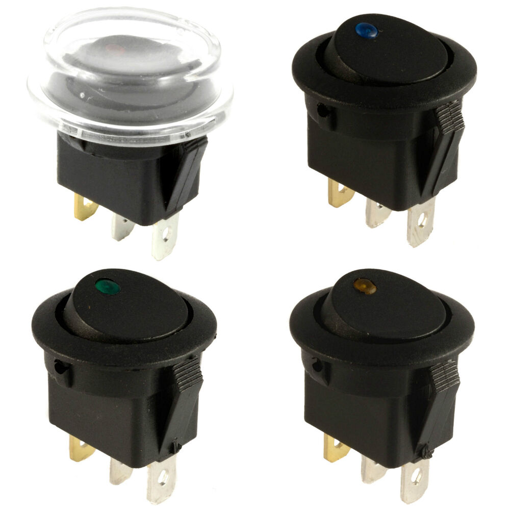 on off led dot lighted round rocker switch waterproof. Black Bedroom Furniture Sets. Home Design Ideas