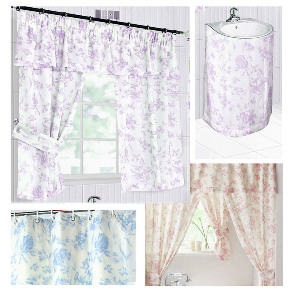 ... window curtains & plemet or sink surrounds lilac blue pink | eBay