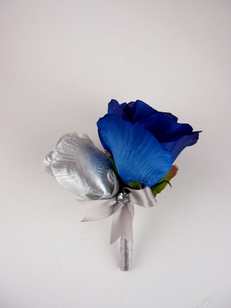 Man Boutonniere Royal Blue Silver Gray Prom wedding