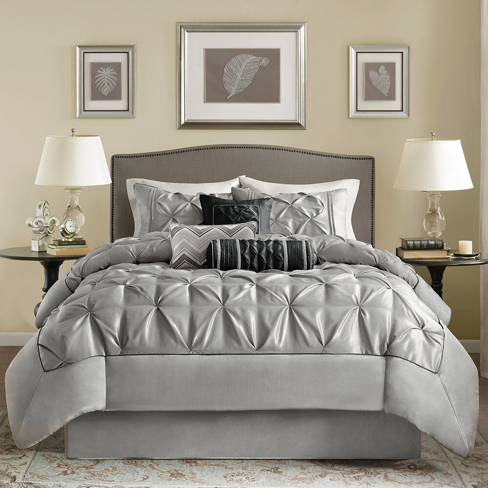 Bedding Decor: MODERN CHIC RUFFLED PLEATED RUCHED GREY BLACK CHIC