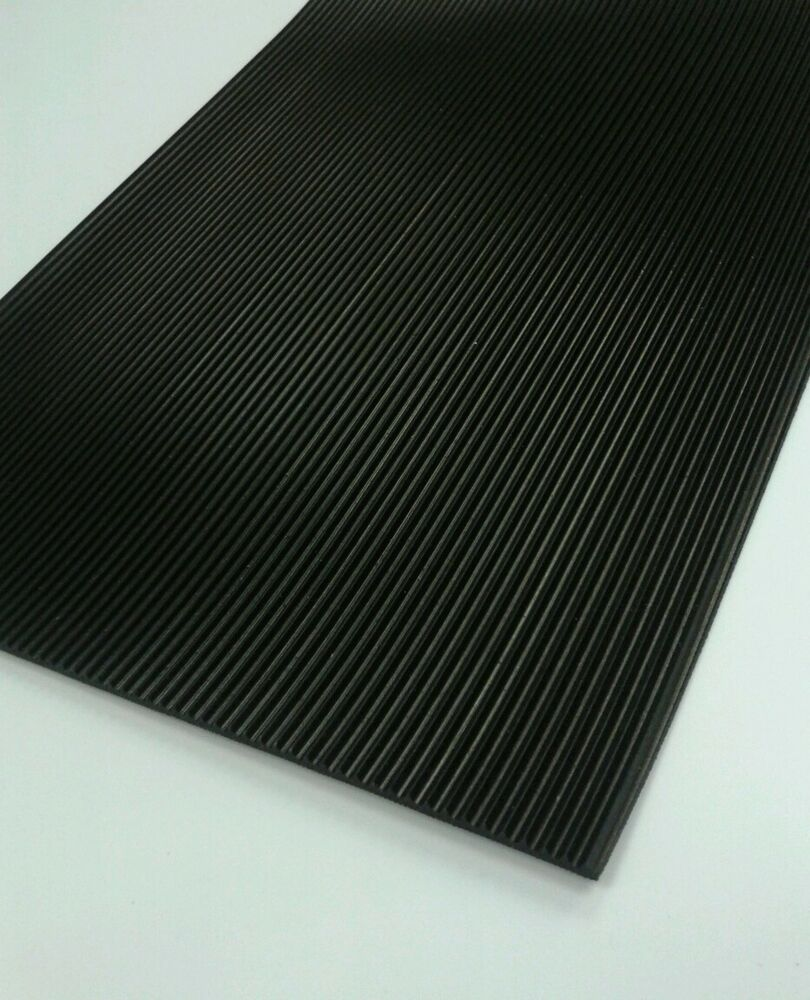 Ribbed Rubber Matting 3mm Thick Anti Slip Non Slip Black