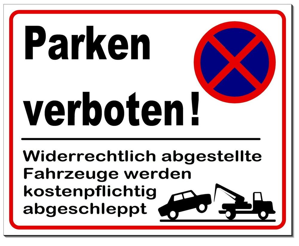 parken verboten parkverbot aluminium schild 4 gr en warnschild verbot hinweis ebay. Black Bedroom Furniture Sets. Home Design Ideas