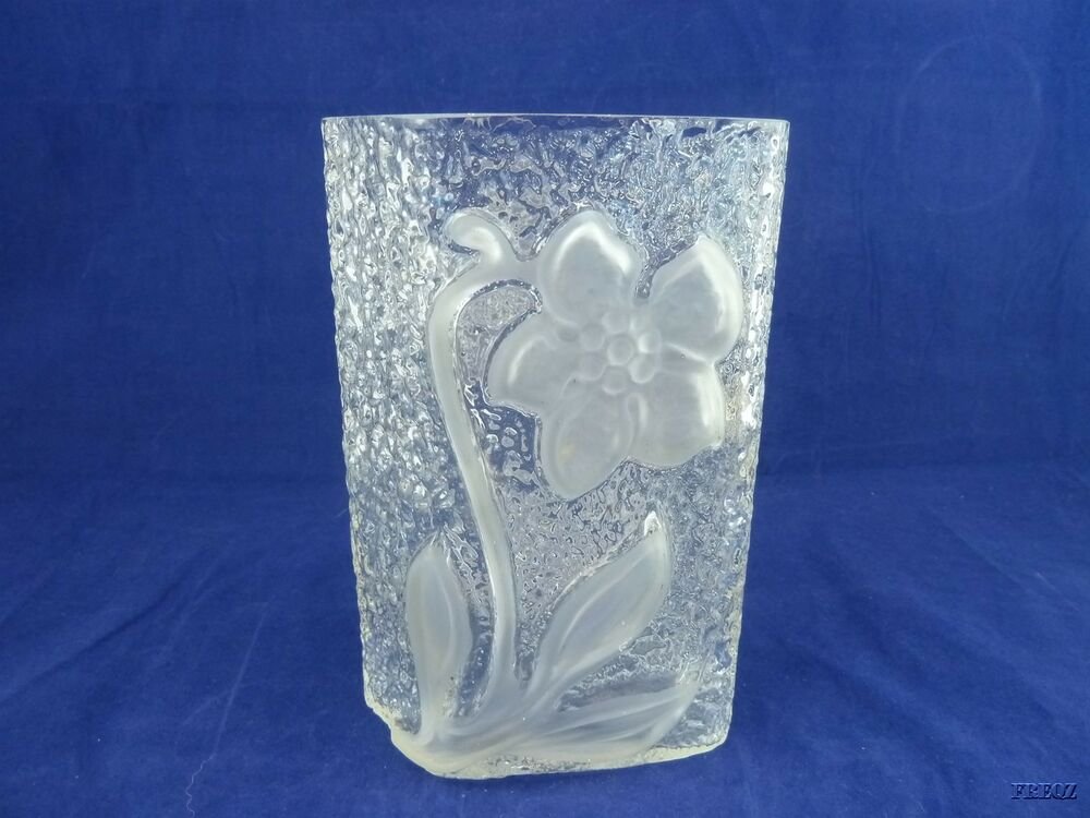 Rectangular Clear Glass Textured Vase With Embossed Frosted Lily Ebay