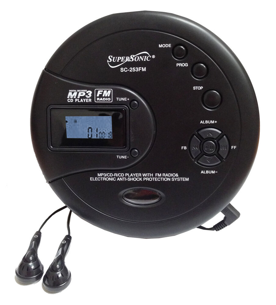 supersonic personal cd disc player w mp3 fm scan radio 120 sec anti shock sc 253 ebay. Black Bedroom Furniture Sets. Home Design Ideas