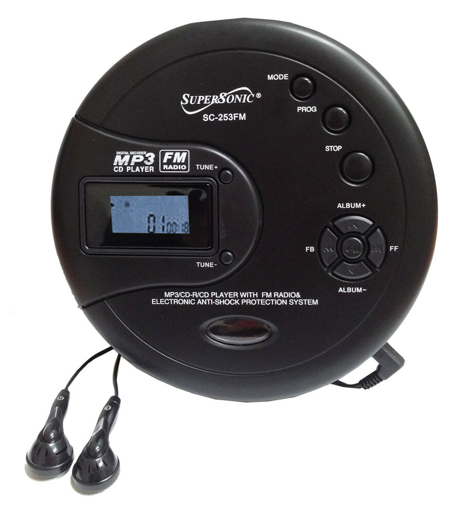 supersonic personal cd disc player w mp3 fm scan radio 120. Black Bedroom Furniture Sets. Home Design Ideas