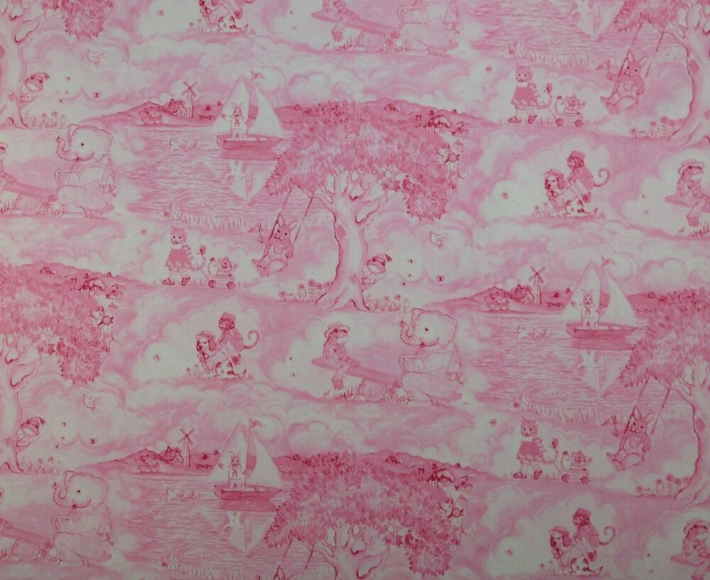 oakhurst animal toile pink kelly b rightsell upholstery fabric by the yard 54 w ebay. Black Bedroom Furniture Sets. Home Design Ideas
