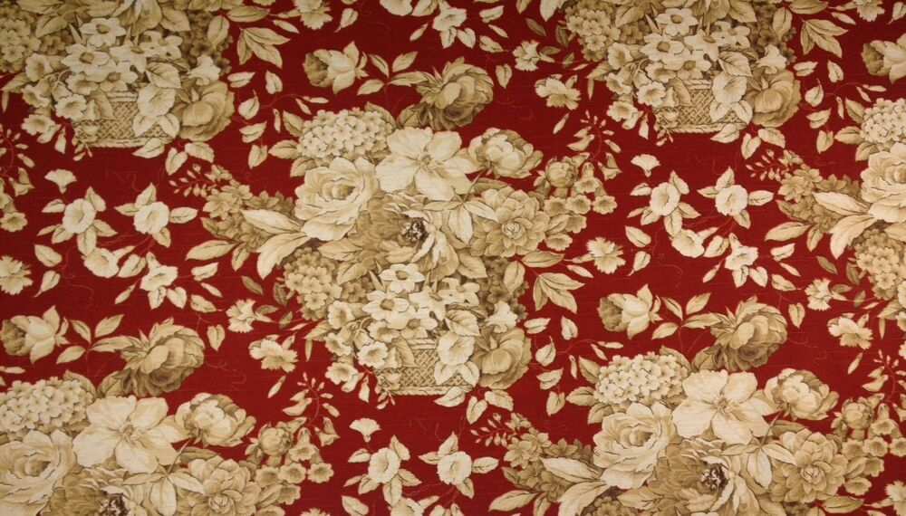 spectrum bouquet burgundy red floral flower toile linen fabric by the yard 54 w ebay. Black Bedroom Furniture Sets. Home Design Ideas
