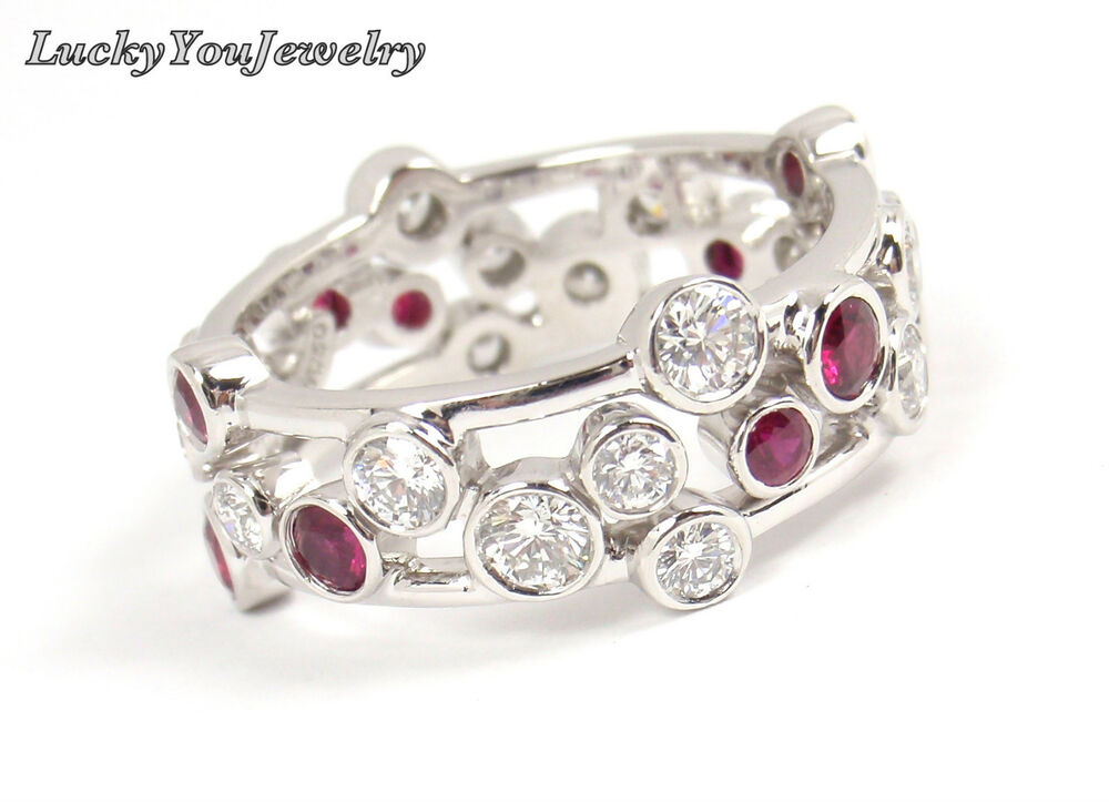 $9 5K Mint Tiffany & Co Bubbles Platinum Diamond Ruby Band Ring Size 7 5