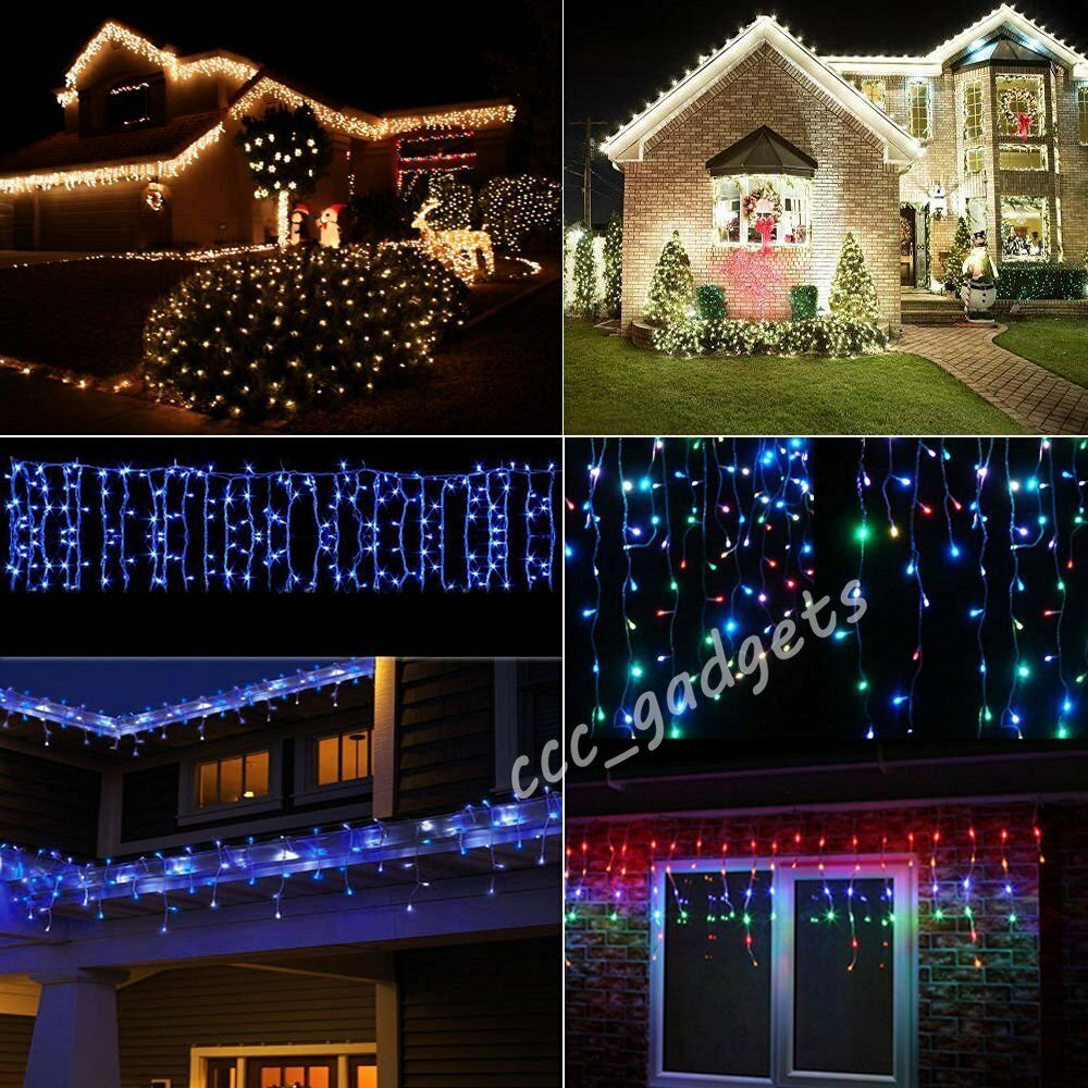 144 216 300 600 led snowing icicle christmas fairy lights. Black Bedroom Furniture Sets. Home Design Ideas