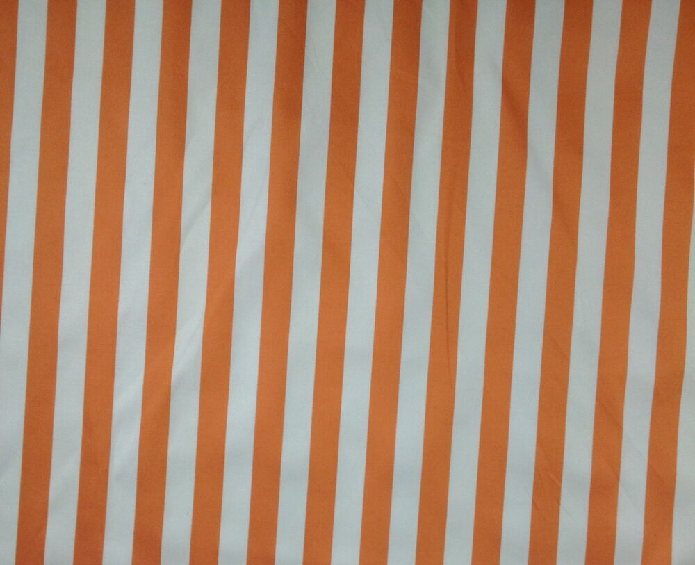 00157 awning stripe orange white cotton drapery cushion for By the yard fabric