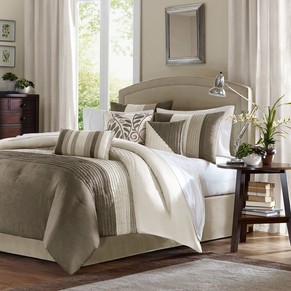 Beautiful 7pc elegant beige taupe tan ivory pintuck soft for Black white taupe bedroom