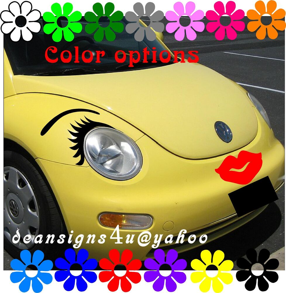 Car Eyelashes Eyebrow Red Lips 40 Flower Set Save Any Headlight