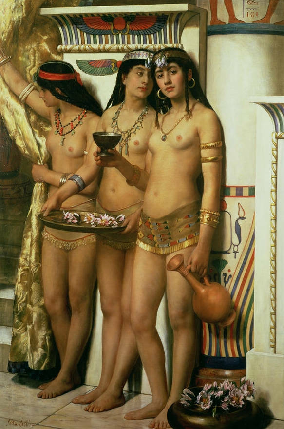 Large Oil Painting Three Young Nice Naked Girls Arab -5931