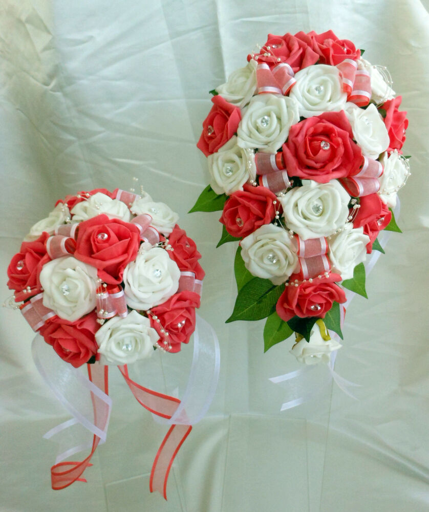 brides bridesmaids wedding bouquet flowers coral and white or ivory ebay. Black Bedroom Furniture Sets. Home Design Ideas