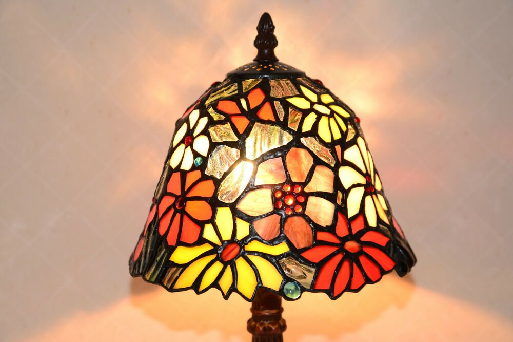 butterfly flowers tiffany style stained glass jeweled table lamp. Black Bedroom Furniture Sets. Home Design Ideas