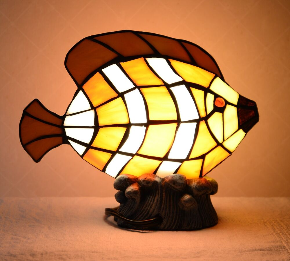 7 75 Quot H Stained Glass Tiffany Style Fish Night Light Table