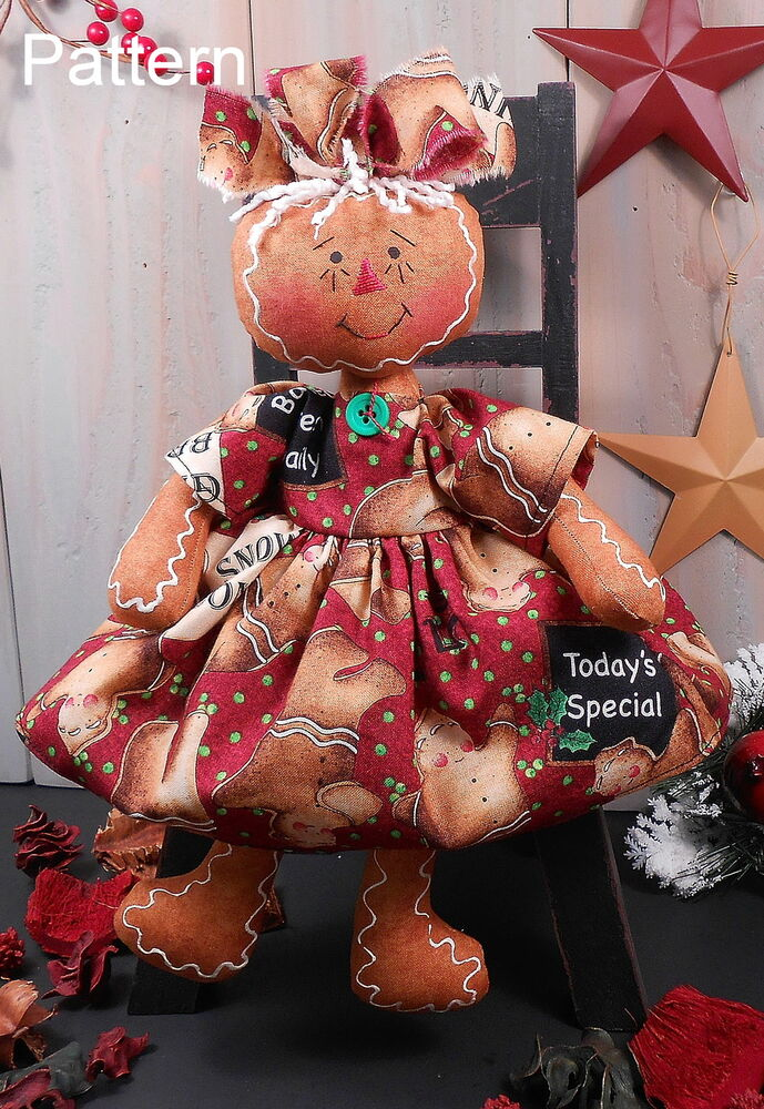 primitive raggedy doll christmas gingerbread holiday