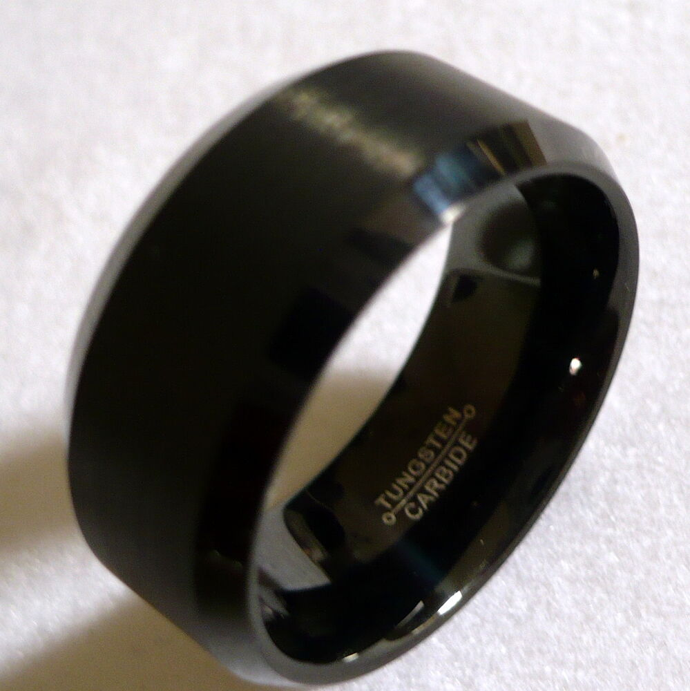 Silicone Wedding Band >> 10MM MEN'S TUNGSTEN CARBIDE BLACK WEDDING BAND RING 6-15 | eBay