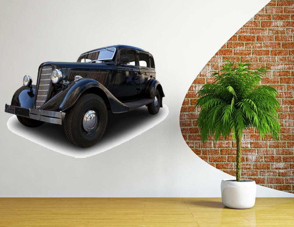 Huge retro car wall stickers classic vinyl decal mural art for Cars wall mural sticker