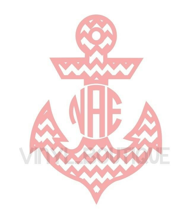 personalized chevron anchor circle monogram vinyl decal sticker