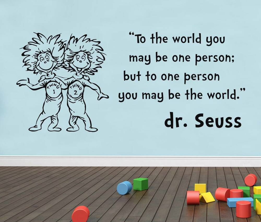 SEUSS THING 1 2 Inspirational Quote Decal WALL STICKER Words Decor Art SQ61  | EBay Part 97