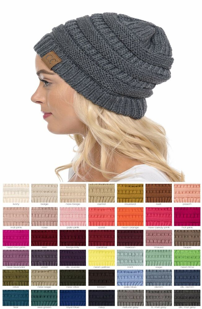 New Womens Cc Thick Cap Hat Skully Unisex Slouch Color