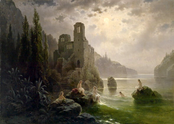 Oil Painting Naked Young Women Bathing By The River With Castle At Moon Night  Ebay-8823