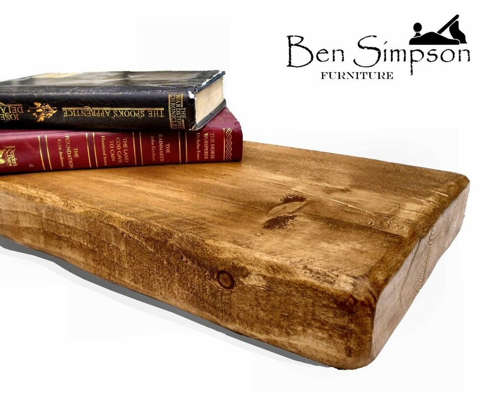 Chunky wooden rustic solid floating shelf shelves mantel handmade 22cm