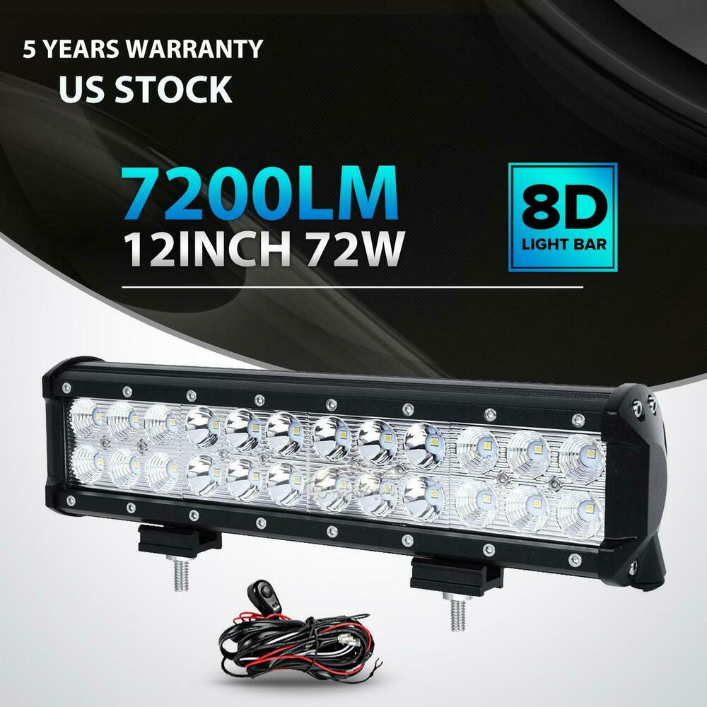12inch 72w cree led work light bar spot flood combo offroad pickup van atv 12v ebay. Black Bedroom Furniture Sets. Home Design Ideas