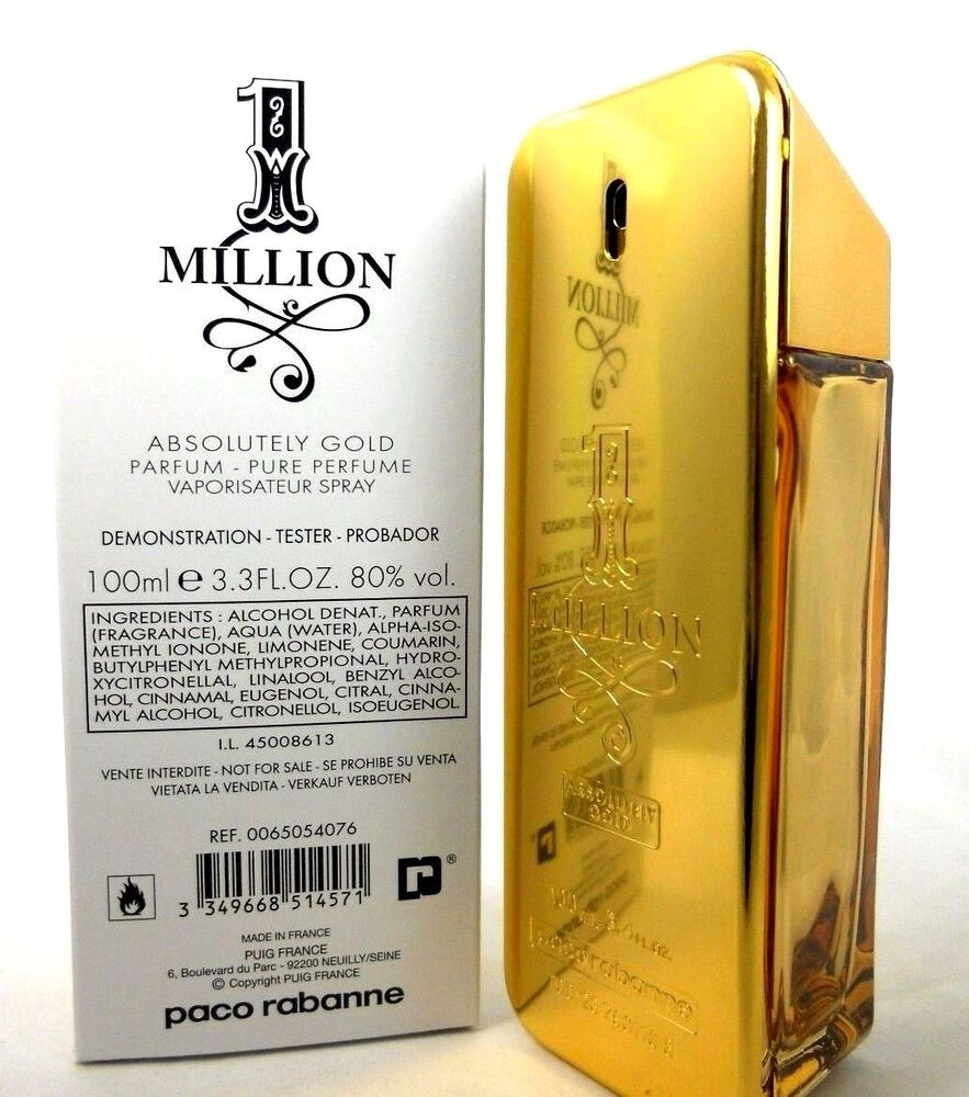 paco rabanne 1 million absolutely gold parfum spray 3 3 oz 100 ml new tester 3349668514571 ebay. Black Bedroom Furniture Sets. Home Design Ideas