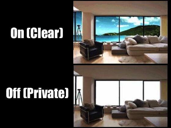 Invisishade switchable privacy film smart glass window for Smart window shades