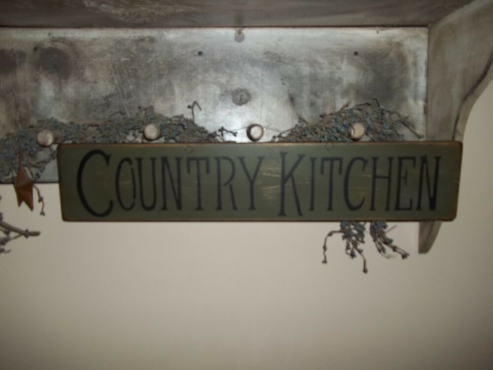 Wood Sign COUNTRY KITCHEN Prim VTG Handmade Rustic Distressed Age