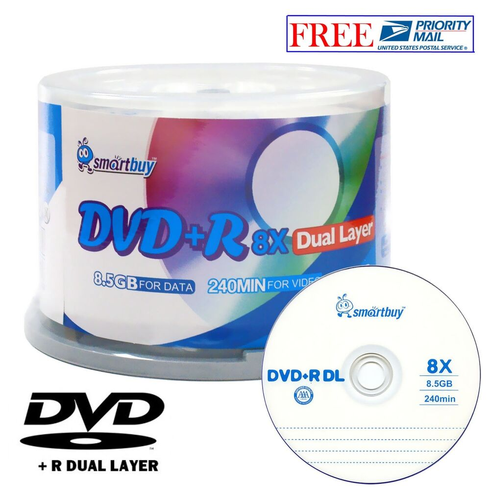 50 pack smartbuy blank dvd r dl 8x 8 5gb dual layer logo. Black Bedroom Furniture Sets. Home Design Ideas