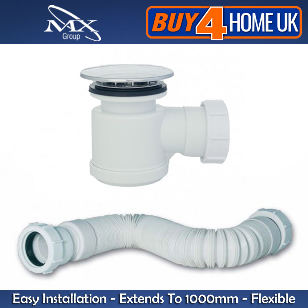 Mx 50mm waste extendable flexi hose hi flow shower tray waste trap 47 110cm ebay - Shallow shower tray ...