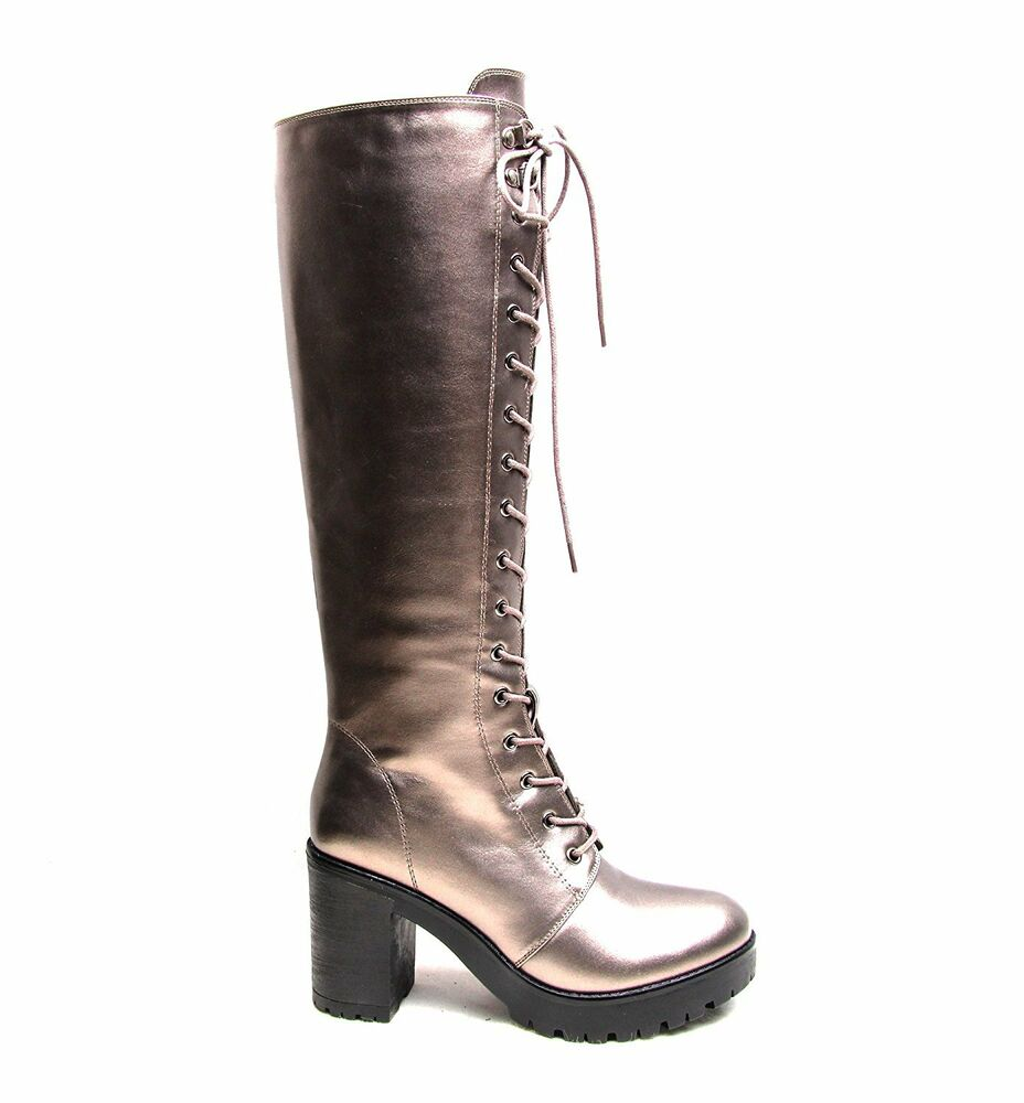 womens combat army lace up flat heel knee