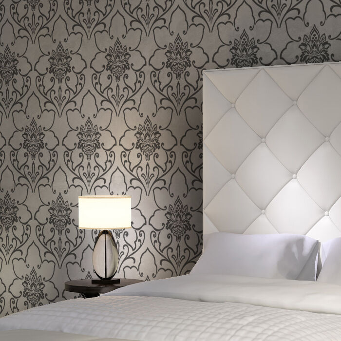 Floretta damask stencil pattern large size for walls instead of wallpaper ebay - Design patterns wall painting ...