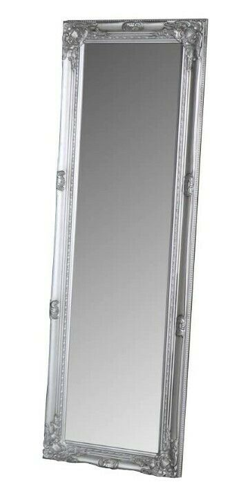 Tall antique silver dressing room full length floor wall for Full length mirror in living room
