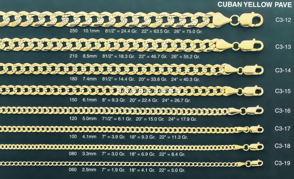 14k Yellow Gold Pave Curb Cuban Chain Diamond Cut Solid