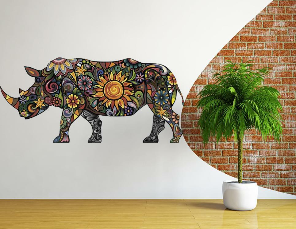 Rhinoceros wall sticker vinyl decal wall sticker vinyl art for Animal wall mural