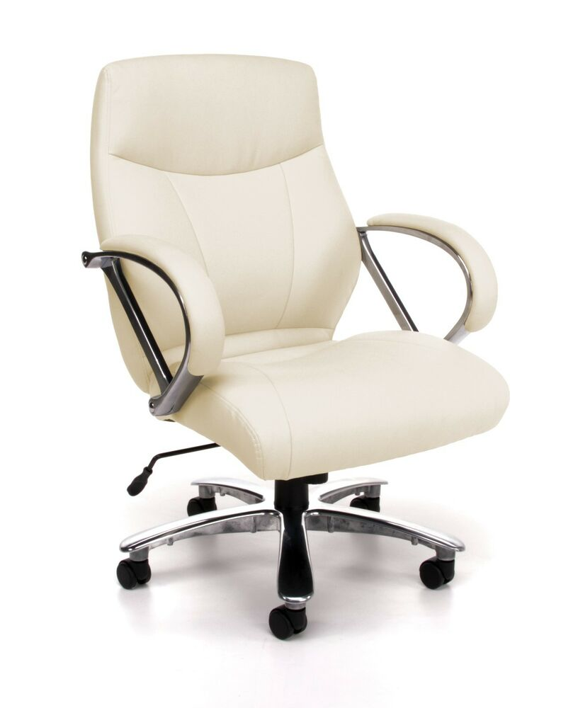 Big & Tall 500 lbs. Capacity Cream Leather Mid Back ...