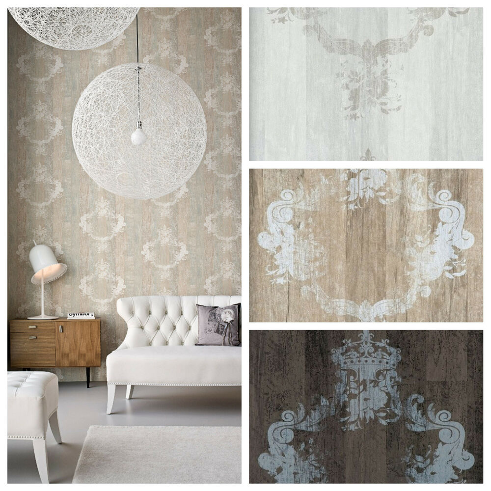 Vlies tapete antik holz muster ornament barock braun grau for Tapete beige