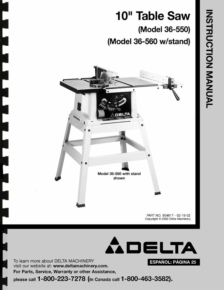 Delta 10 table saw instruction manual for model no 36 for 10 inch delta table saw