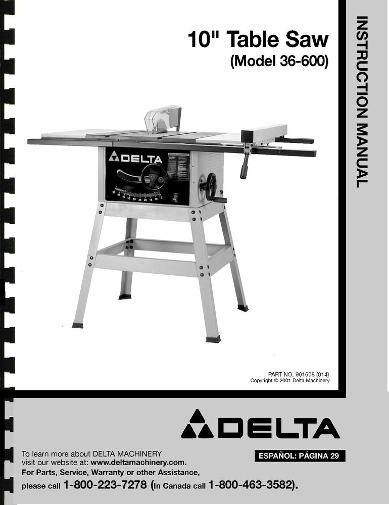 Delta 10 table saw instruction manual for model no 36 for 10 table saw blade review
