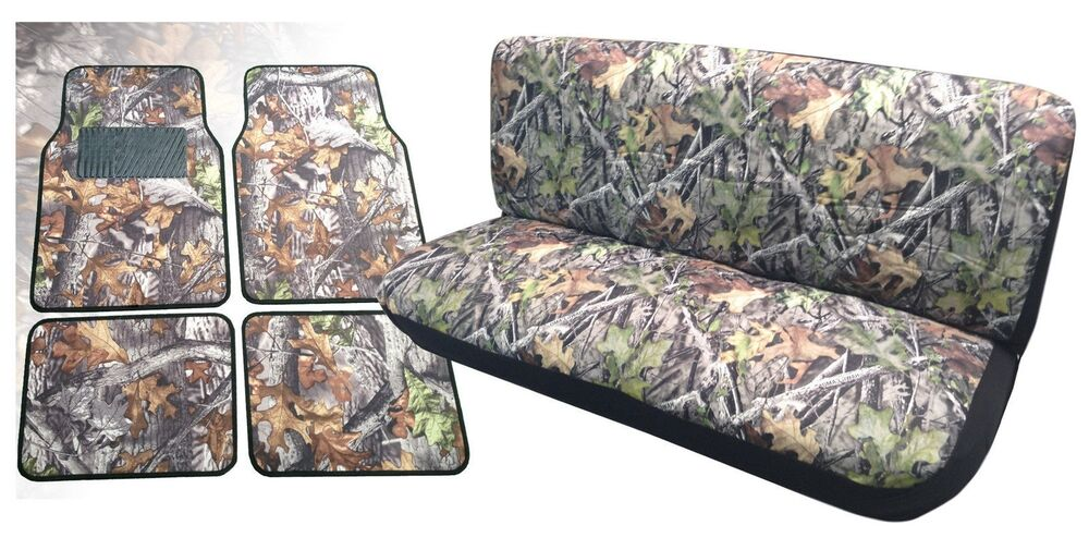 Camo Front Bench Seat Cover Floor Mats Forest Gray Pickups For Ford F Series Ebay