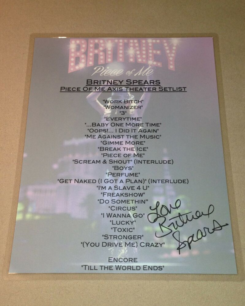 BRITNEY SPEARS PIECE OF ME LAS VEGAS TOUR RESIDENCY SIGNED ...