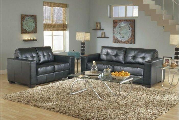 2Pc Contemporary Modern Leather Sofa Loveseat Set Living Room Furnitur