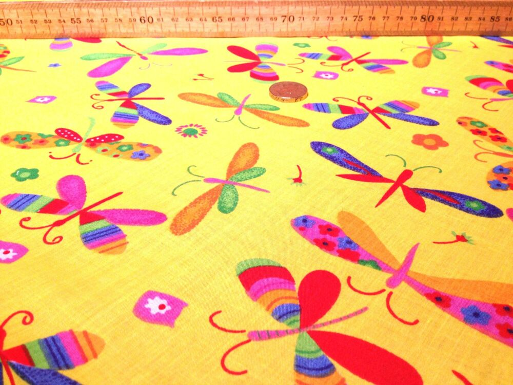 Dragonfly yellow orange purple red nursery childrens for Yellow nursery fabric